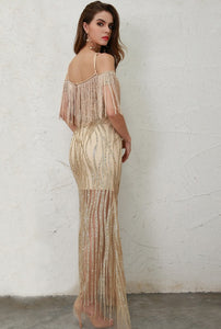 Gold High Split Glitter Maxi