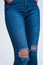 Load image into Gallery viewer, Blue Skinny Jeans With Cracks