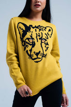 Load image into Gallery viewer, Mustard Knitted Sweater With Leopard