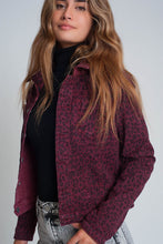 Load image into Gallery viewer, Maroon Reversible Denim Jacket With Leopard Print