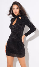 Load image into Gallery viewer, Black Sequin Bodycon Dress