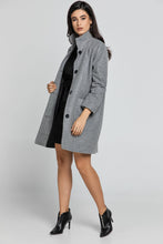 Load image into Gallery viewer, Grey Coat With Upright Collar by Conquista Fashion