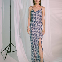 Load image into Gallery viewer, Ladder of Love Cowl Slip Dress in Ink Blue