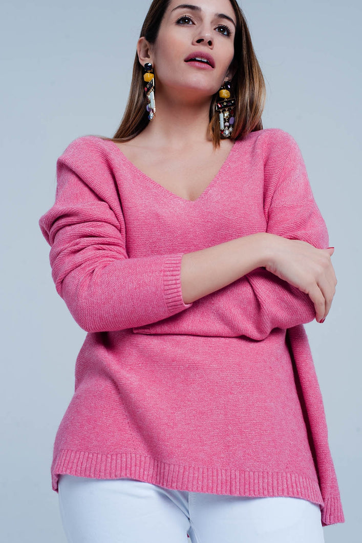 Pink Soft Knit V-Neck Sweater