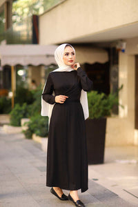 Women's Tie Back Modest Black Dress