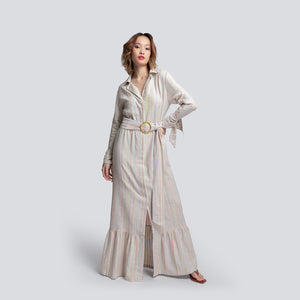 Jodi Long Shirt Dress in Striped Linen