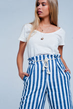 Load image into Gallery viewer, Blue Tapered Pants With Rope Belt in Stripe