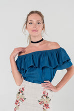 Load image into Gallery viewer, Dark Denim Off Shoulder Ruffle Crop Top