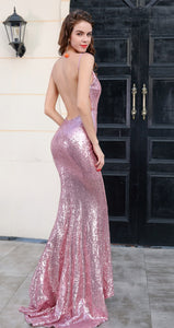 Pink Sequin Evening Gown