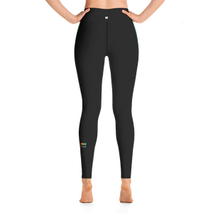 Black Rainbow Side-Stripe Yoga Leggings