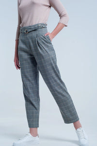 Checkered Pants  With Belt