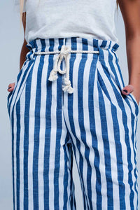 Blue Tapered Pants With Rope Belt in Stripe