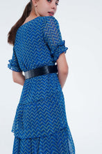 Load image into Gallery viewer, Blue Tiered Maxi Dress