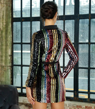Load image into Gallery viewer, Striped Sequin Blazer Dress