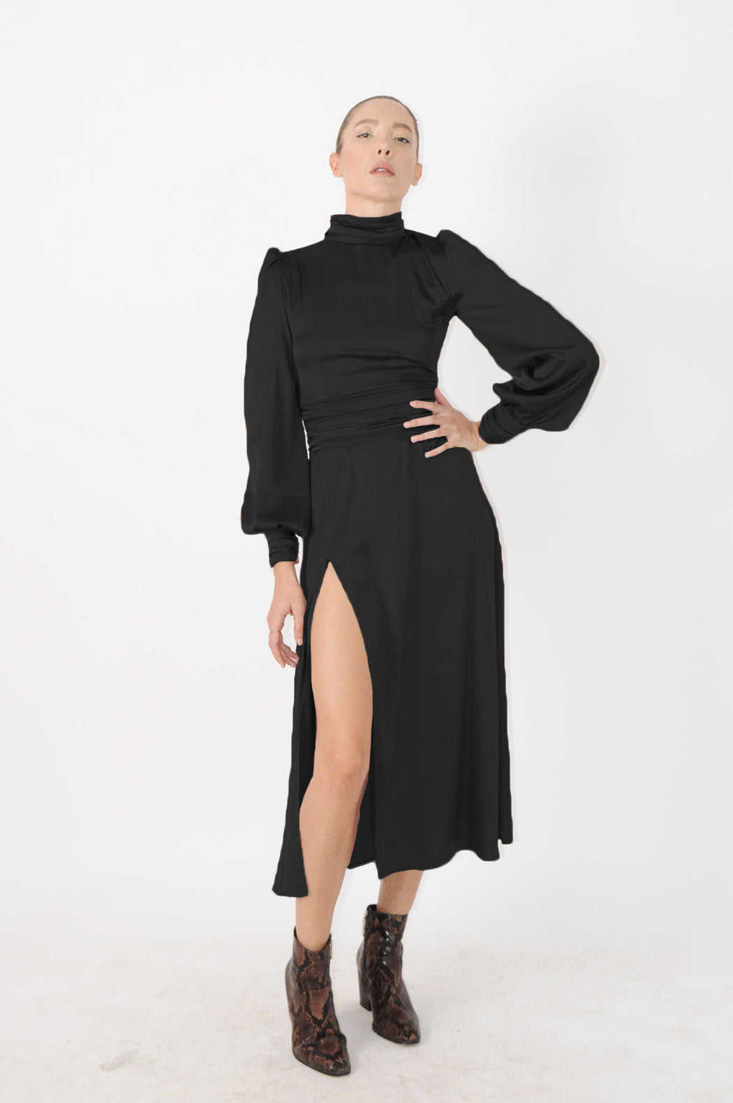 Turtleneck Midi Dress With Long Sleeves