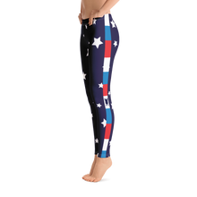 Load image into Gallery viewer, Super Star Leggings With Red White & Blue Side Stripe
