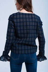 Navy Checked Shirt With Ruffle