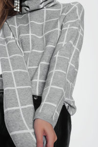 Checkered Grey Turtleneck Sweater
