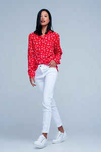 Blouse With Flower Print in Red