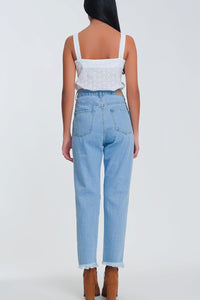 High Waist Mom Jeans With Busted Knees in Light Denim