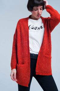 Orange Fleck Knitted Cardigan