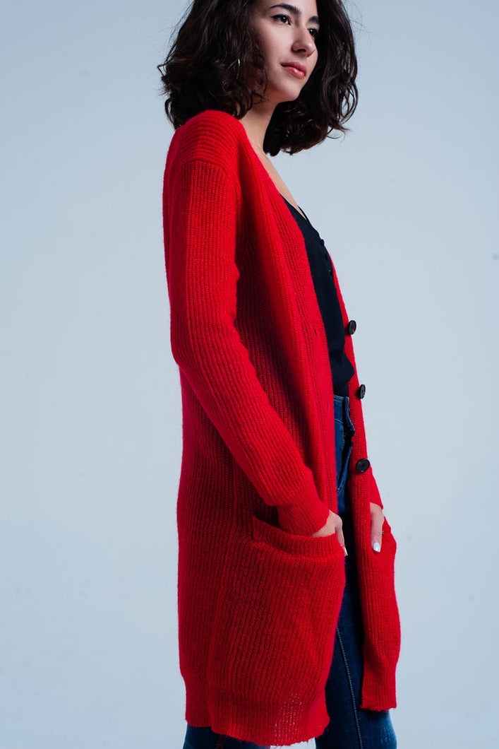 Red Buttoned Longline Cardigan With Pockets