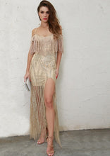 Load image into Gallery viewer, Gold High Split Glitter Maxi