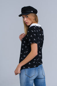 Black Shirt With White Printed Birds