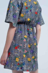 Mini Dress With Colourful Flower Print