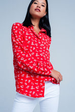 Load image into Gallery viewer, Blouse With Flower Print in Red