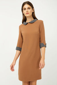 Straight Winter Dress With Contrast Peter Pan Collar