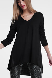 Long Black T-Shirt With Long Sleeves