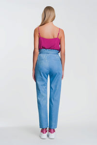 Lightweight Paperbag Tie Waist Jean in Light Blue