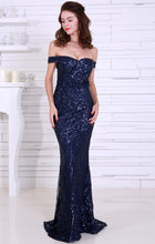 Load image into Gallery viewer, Navy Blue Sequin Gown