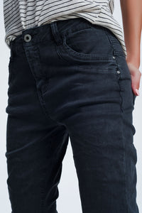 Drop Crotch Skinny Jean in Grey