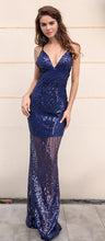 Load image into Gallery viewer, Navy Blue See Through Gown