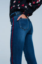 Load image into Gallery viewer, Skinny Mid Rise Jeans in Dark Wash Blue With Side Stripe