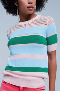 Blue Striped Open Knit Sweater Short Sleeves