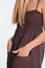 Load image into Gallery viewer, Shirred Bust Maxi Brown Dress With Pockets