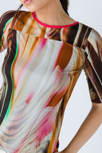 Load image into Gallery viewer, Fitted Print Top in Stretch Jersey