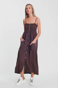 Shirred Bust Maxi Brown Dress With Pockets