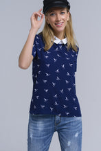 Load image into Gallery viewer, Navy Shirt With Printed Birds