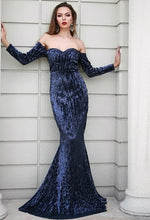 Load image into Gallery viewer, Navy Off Shoulder Sequin Gown