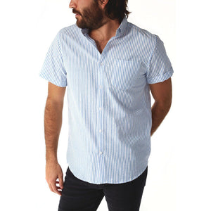 Devin Blue Seersucker Striped Shirt