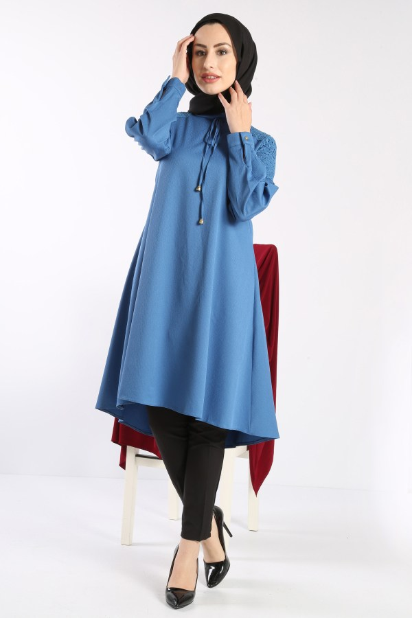 Women's Lace-up & Lace Detail Blue Tunic
