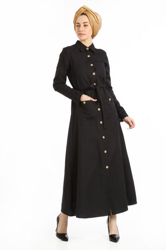 Women's Belted Wooden Button Black Dress