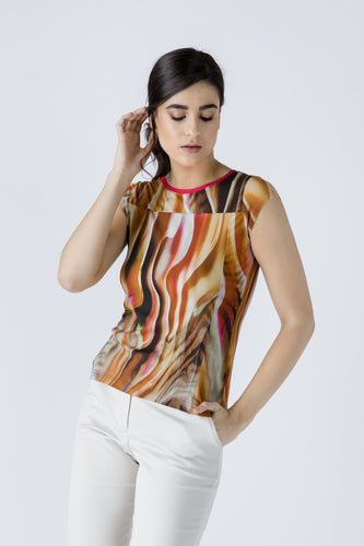 Print Cap Sleeve Top With Trim Detail