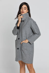 Grey Coat With Upright Collar by Conquista Fashion