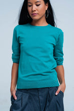 Load image into Gallery viewer, Green Fine Knit Sweater in 3/4 Sleeve
