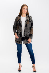 Womens Letter Print Hoodie Long Jacket